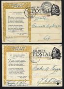 """2 X Postais Inteiros. Um Deles Com SOBRETAXA Aumento De Porte  $50 """"CONHEÇA A SUA POESIA"""" PORTUGAL 1940s - Entiers Postaux"""