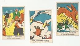 FABLES LA FONTAINE - LOT DE 3 CHROMOS - L'HUITRE ET LES PLAIDEURS, LE LIÈVRE ET LES GRENOUILLES, TORTUE ET LES 2 CANARDS - Trade Cards
