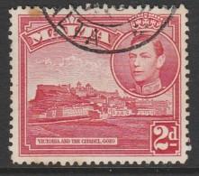 Malta 1943 King George VI And Local Motifs  SW: 193 2p Red Used - Malta