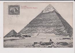 CPA - Le CAIRE - Les Trois Pyramides - EGYPTE - Timbre 3 Trois Milliemes - Le Caire