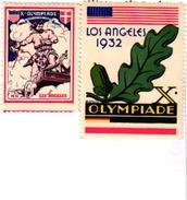 2 POSTER STAMPS Cinderella Olympiade LOS ANGELES 1932 - Summer 1932: Los Angeles