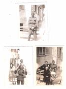3 Photos Originales :Soldat Edmond STEUDLER ? En Service Octobre 1942/ LA SAGNE Avec Tintin 1942/Grand Mère Cousin Willy - Guerra, Militari