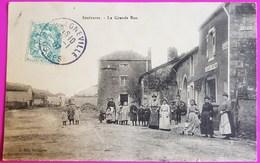 Cpa Saulxures Les Bulgnéville Grande Rue Café Roy 1907 Carte Postale 88 Vosges Proche Sauville Châtenois Neufchateau - Non Classés