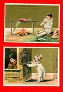 Rouen, Dumontier, Lot De 2 Chromos, Pierrot, Concierge, Tentation & Gourmandise Satisfaite - Trade Cards