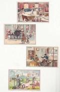 CHROMOS - IMAGES ANCIENNES - LOT DE 4 - MÉTIERS - BOULANGER,  SAVONNERIE, TAILLEUR, JARDINIER - ED. PICARD & KAAS - Trade Cards