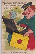 """Carte à Tirette, à Système ,dépliant 10 Vues"""" Dans L'enveloppe Vous Verrez Le PLATEAU D'ASSY """" (facteur) - France"""