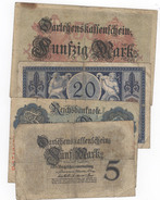 Lot Of 4 German Notes 1914/15. 5, 20, 20, 50 Mark. - [ 2] 1871-1918 : Empire Allemand