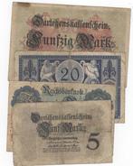 Lot Of 4 German Notes 1914/15. 5, 20, 20, 50 Mark. - [ 2] 1871-1918 : Impero Tedesco