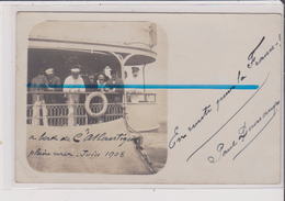 Carte Photo - A BORD DE L'ATLANTIQUE - Pleine Mer Juin 1908 - Bouée Atlantique Marseille - Bateaux