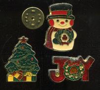 3 Pin´s - NOEL Bonhomme De Neige Sapin - Noël