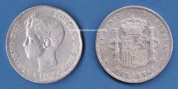 1898 SPAIN ESPANA SILVER 5 PESETAS ALPHONSO XIII  VERY GOOD/FINE CONDITION - Monnaies Provinciales