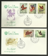 SAN MARINO / Série Compléte / Lot 2 Enveloppes - Covers FDC / 1963 - Butterflies