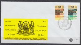 SURINAME : 600-601 FDC  – Surinaamsche Courant (1974) - Surinam
