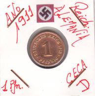 ALEMANIA - IMPERIO - DEUTSCHES REICH - 1  PFENNIG. . AÑO 1911-D - [ 2] 1871-1918 : Imperio Alemán
