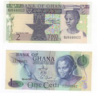 Ghana, Lot Of 2 Notes, 1 Cedi 1976 And 2 Cedes 1982.UNC! - Ghana