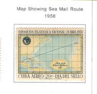 Cuba 1958 Posta Aerea Mappa Route  Scott.C180++Nuovo  See Scan - Aéreo