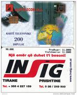 ALBANIA - INSIG, Albtelecom Telecard 200 Units(thick Writing), 11/03, Used