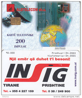 ALBANIA(chip) - Albtelecom Telecard 200 Units(thin Writing), Tirage 90000, 04/03, Used