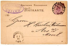 ALLEMAGNE. COLN ( RHEIN ) Sur ENTIER Pour ARS AN DER MOSEL. ALSACE MOSELLE. 1886. - Cartas
