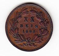 PORTUGAL    KM   527   VF++, 20 Reis   1883.     (P 1504) - Portugal