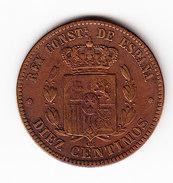 ESPAGNE   KM  675  1877, 10 CENTIMOS, AU.      ( 41 ) - Monnaies Provinciales