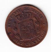 ESPAGNE       KM  675      1879,  10 CENTIMOS, AU.     ( 42 ) - Monnaies Provinciales