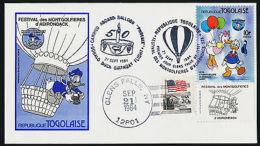 Togo 1234, USA 2115 On Balloon Flight Glens Falls Cancel FDC - Disney, Flag - Togo (1960-...)