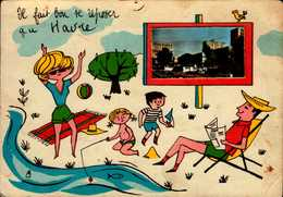 76-IL FAIT BON SE REPOSER AU HAVRE  ..HUMOUR AVEC VERITABLE PETITE PHOTO DE LA VILLE..CPSM GRAND FORMAT - Other