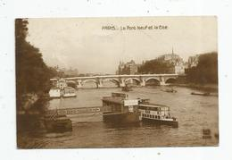 Cp , 75 , PARIS , Le PONT NEUF Et La CITE , Bateau , Péniche , Publicité : Kub , Paris-Tailleur , Voyagée 1920 - Le Anse Della Senna