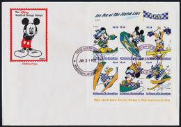 St Vincent 2660 On FDC - Disney, Mickey Mouse, Winter Sports - St.-Vincent En De Grenadines