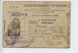 Carte F F A  Federation Française D Athletisme  (ligue Regionale Lyonnais) 1903  (bien Voir Etat) - Sin Clasificación