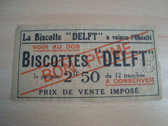 Ticket Bon Prime Biscottes DELFT Biscuiterie 45 Rue Grange-aux-Belles PARIS - Reclame