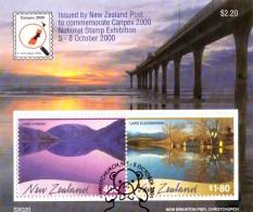 New Zealand 2000 Canpex Exhibition Lakes Minisheet Used - New Zealand