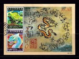 New Zealand 2000 Year Of The Dragon Aotearoa Minisheet Used - New Zealand