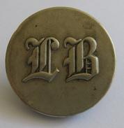 Ancien Bouton D'habit, Livrée, Monogramme LB - 28mm - 2 Scans - Boutons
