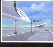 MINT NEVER HINGED SOUVENIR SHEET OF AVIATION  ; CONCORD ( BHUTAN  651 - Vliegtuigen