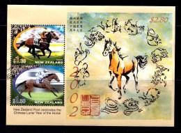 New Zealand 2002 Year Of The Horse - Horseracing Minisheet Used - New Zealand