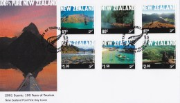 New Zealand 2001 Tourism 100 Years Nature Scenes FDC - FDC