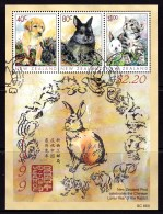 New Zealand 1999 Year Of The Rabbit Popular Pets Minisheet Used - Nouvelle-Zélande