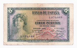 España - 5 Pesetas - 1935 - [ 2] 1931-1936 : Republic
