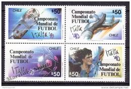 Chile - Chili 1990 Yvert 951- 54, Italia '90, FIFA World Cup  - MNH - Cile
