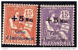Alexandrie N° 81 / 82 X , Au Profit De La Caisse D´Aortissement La Paire Trace De Charnière Sinon TB