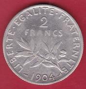 France 2 Francs Argent Semeuse 1904 - France