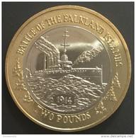 2 Pounds 2014 Falkland Islands ( Battle Of The Falkland Islands ) Bâteau De Guerre  Bimetal / Bimetallic....unc - Falkland Islands