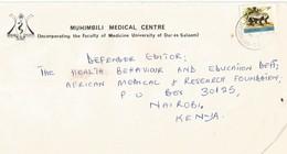 Tanzania 1980 Muhumbili Badger Ratel Cover To Kenya - Tanzania (1964-...)