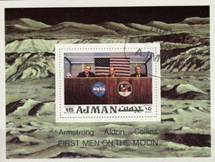 Astronaut Aldrin Apollo 11 USA Raumfahrt-Projekt 1971 Ajman Block 272 O 2€ Crew Mond-Flug Bloc Ss NASA Sheet Bf VAE - Space