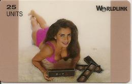 CARTE-PREPAYEE-USA-WORLDLINK-25Units-FEMME  Presentant CHOCOLAT-1/04/1994 Plastic Epais -TBE-RARE - Sonstige