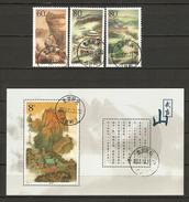 China Volksrepublik (VR) 2001  Mi. 3244-3246 + Bl.98   O/used   Tempel Am Wudanshan / Jindian Golener Palast