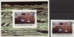 US-Astronaut Aldrin Raumfahrt-Projekt 1971 Ajman 808+Block 272 O 3€ Apollo 11 Crew Mond-Flug Bloc NASA Sheet Bf VAE - Adschman