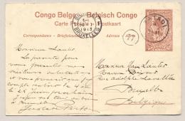 Belgisch Congo - 1913 - 10c Voorbedrukte Ansicht Van MATADI Naar Brussel / België - Postwaardestukken